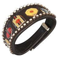 Bikers couture jewelry leather rhinestones emblems cuff bracelet