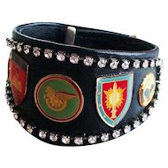 Bikers couture jewelry design leather cuff rhinestones emblems bracelet easy rider jewelry design