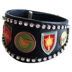 Bikers couture jewelry design leather cuff rhinestones emblems bracelet easy rider jewelry design
