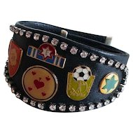 Bikers couture jewelry design leather cuff rhinestones emblems bracelet easy rider jewelry