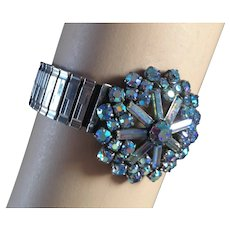 AB blue vintage crystal brooch expanding watch band bracelet upcycled snowflake jewelry design