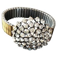 Rocking snowflake  crystal rhinestones brooch on expanding watchband bracelet
