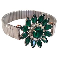 Green crystal marquisette light yellow rhinestone vintage flower brooch on 1960s expanding silver tone metal watchband designer bracelet upcycled fashion jewelry