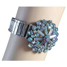 AB blue crystal snowflake brooch expanding watch band designer bracelet