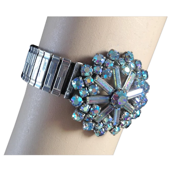 AB blue crystal snowflake brooch expanding watch band designer bracelet