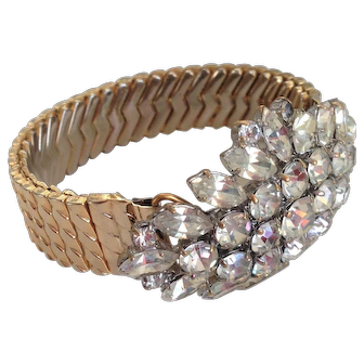 Rocking marquise  crystal rhinestones brooch on expanding watchband bracelet designer fashion jewelry