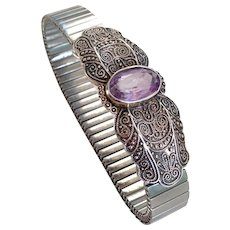 Silver vintage brooch violet amethyst stone on stainless vintage expanding watchband bracelet, designer upcycled jewelry design