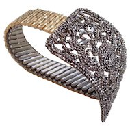 Metal shots silversmith brooch Lenox ,expanding watchband brooch bracelet, designer fashion jewelry