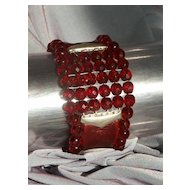 Bold designer bracelet. Leather, silver and red beads cuff.