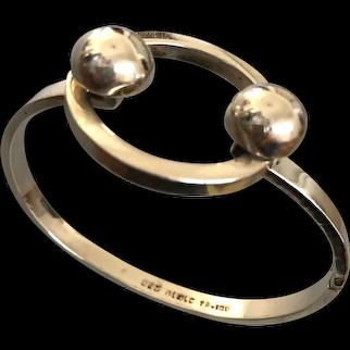 Vintage hallmarked sterling silver bangle rare Bauhaus design style jewelry