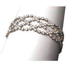 Vintage elegant silver tone rhinestone bracelet braided crystal estate jewelry