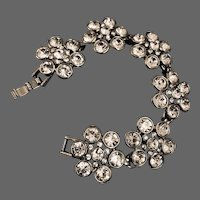 Sparkling crystal rhinestone flowers silver tone metal vintage bracelet flea market fashion 'MING' jewelry mark