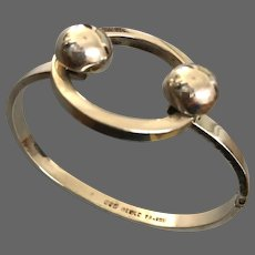 Rare vintage hallmarked sterling silver bangle Bauhaus design style jewelry