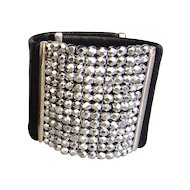 Black leather cuff silver tone Czech beads mesh bold bracelet