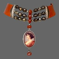 Romantic woman portrait cameo silver pendant crystals cornelian beads on couture leather choker statement jewelry.