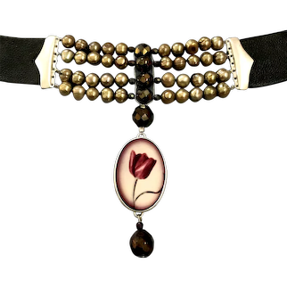 Purple tulip cameo sterling silver pendant on dark leather choker metallic gold freshwater pearls olive green Czech crystal beads, couture necklace fashion jewelry upscale design