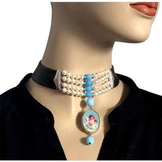 Turquoise cherub cameo in sterling silver pendant freshwater pearls and Czech beads necklace brown leather choker upscale jewelry design.