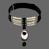 Black tulip cameo sterling silver pendant on black leather choker freshwater pearls Czech crystal beads, black and white fashion jewelry upscale design