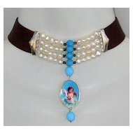 Turquoise cherub cameo freshwater pearls brown leather necklace
