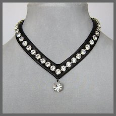 Swarovski rhinestones leather choker, bold leather and crystals necklace, high end jewelry.