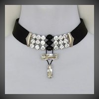Black leather choker Swarovski rhinestones crystal beads silver clasp necklace design.