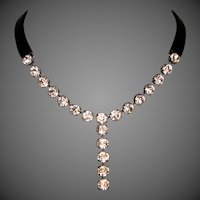 Swarovski crystal pendant couture black leather necklace glamour jewelry