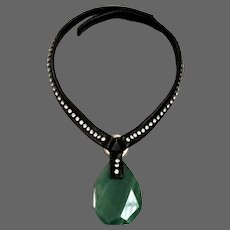 Green aventurine stone pendant Swarovski rhinestones on a black leather choker designer necklace upscale biker jewelry