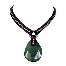 Swarovski rhinestones on a black leather choker with green aventurine stone pendant designer necklace upscale biker jewelry
