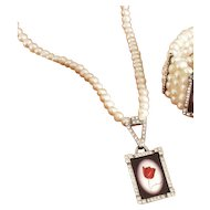 Red tulip cameo silver crystal rhinestones pendant freshwater pearl necklace in-vogue jewelry