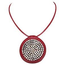 Rhinestones sun cameo red leather pendant bikers necklace contemporary couture jewelry design