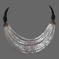 Black leather cords choker silvery white Miyuki delica beads sterling silver necklace romantic contemporary jewelry design.