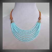 Turquoise beads leather necklace ancient Egypt jewelry design.
