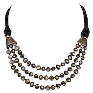 Artisan rocky pearl necklace leather choker silver clasps