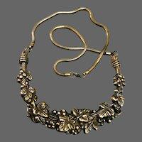 Vintage brass flowers tiara pendant long brass snake chain necklace Milano flea market jewelry