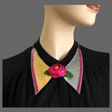 Purple fabric rose flower on gold silver leather velvet bowtie choker copper chain necklace hand tailored couture fashion jewelry design upscale