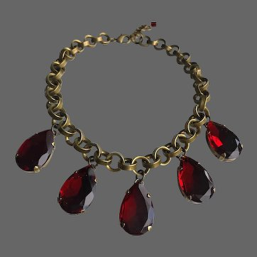Big old red burgundy crystal drops in brass bezel married with iron brass chain Gothic style necklace design contemporary jewelry upscale fashion