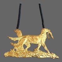 24 K gold leaf vintage dog pendant black hematite bead necklace upscale jewelry