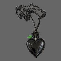Black heart black rose pendant on long black metal chain necklace statement contemporary jewelry design upscale