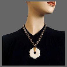 White flower shape agate stone pendant on brass chain necklace contemporary jewelry design upscale