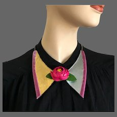 Purple fabric rose flower on gold silver leather velvet bowtie choker copper chain necklace hand tailored couture necklace statement jewelry design upscale