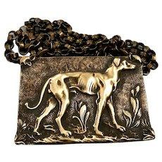 Vintage Italian greyhound dog cameo brass pendant metal chain necklace bold jewelry design