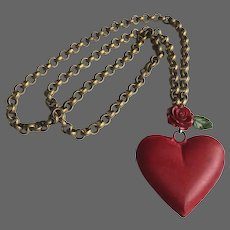 Big red tin heart and rose flower pendant on long brass chain necklace romantic contemporary jewelry design upscale