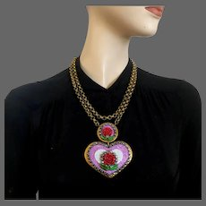 Big golden violet heart pendant old metallic crystal rhinestones purple rose flowers on long brass chain necklace romantic contemporary jewelry design upscale
