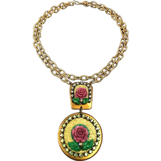 Big golden medal pendant old metallic crystal rhinestones pink rose flowers on long brass chain necklace romantic contemporary jewelry design