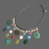 Color fantasy bib necklace Swarovski giant rhinestone Majorca pearls semi-precious stones braided leather choker statement jewelry design upscale fashion