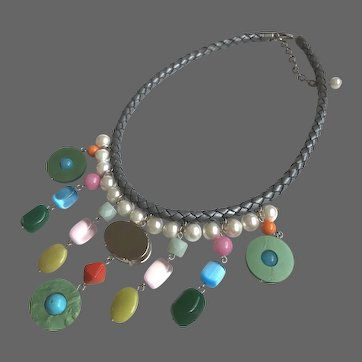 Color fantasy bib necklace Swarovski giant rhinestone Majorca pearls semi-precious stones braided leather choker statement jewelry design upscale fashion