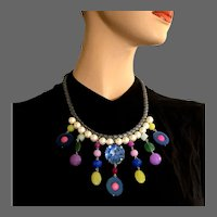Color fantasy bib necklace Swarovski giant rhinestone Majorca pearls semi-precious stones braided leather choker statement jewelry design upscale fashion choker