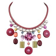Bib necklace leather braid crystal beads bold jewelry