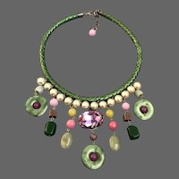 Color fantasy bib necklace pink giant Swarovski rhinestone Majorca pearls semi-precious stones green leather braid choker statement jewelry design upscale fashion