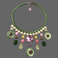 Color fantasy bib necklace pink giant Swarovski rhinestone Majorca pearls semi-precious stones green leather braid choker statement jewelry design upscale fashion